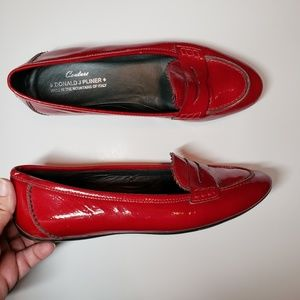 Donald J Pliner red patent leather penny loafers